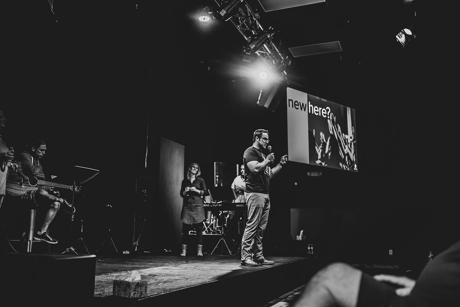 pastor speaking on stage